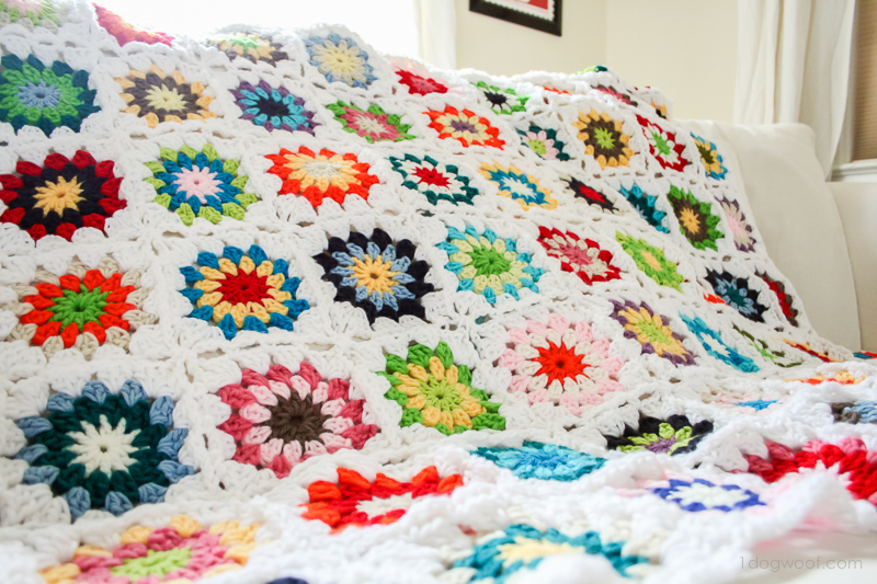 Colorful Squares Crochet Quilt - One Dog Woof : crochet quilt squares - Adamdwight.com