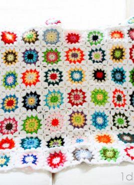 Colorful Squares Crochet Quilt