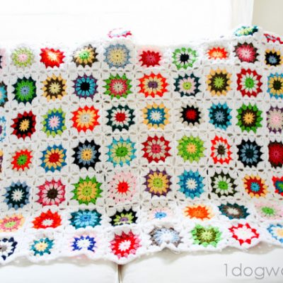 Colorful Squares Crochet Quilt