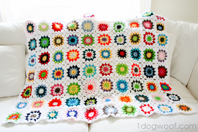 Crochet Quilt Squares : Colorful Squares Crochet Quilt - One Dog Woof