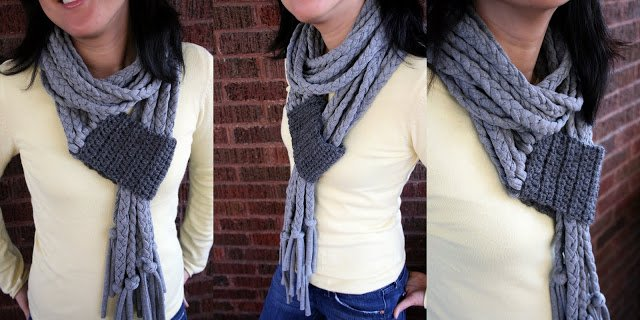 One Dog Woof: Crochet Braid T-shirt Scarf