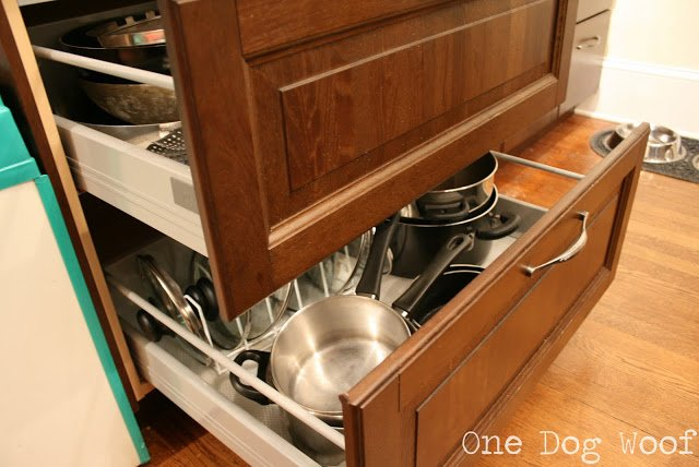 One Dog Woof: Use drawers to hold pots and pans.