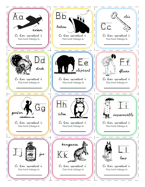 graphic about Abc Book Printable identify French Alphabet Bookplates Printable - 1 Pet dog Woof
