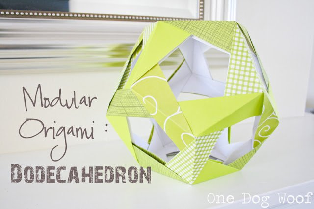Paper Dodecahedron | One Dog Woof | #origami #papercraft #modularorigami