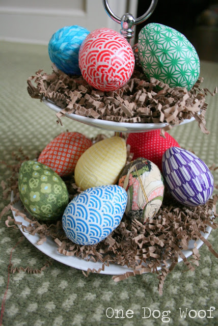 Paper and Fabric Wrapped Easter Eggs