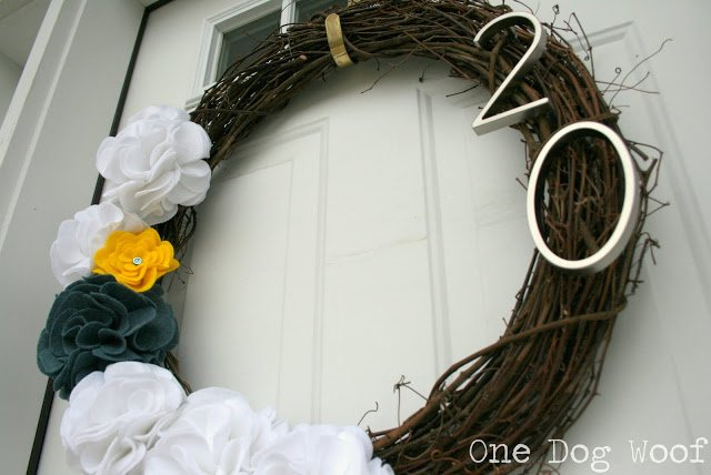 One Dog Woof: House Number Wreath