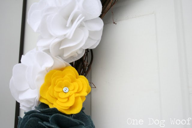 One Dog Woof: Felt flowers on door wreath