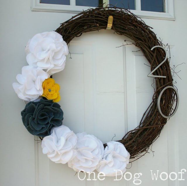 One Dog Woof: Felt Flower House Number Wreath