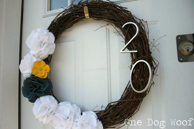 One Dog Woof: House Number Door Wreath