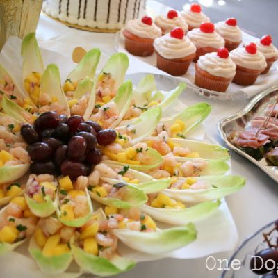 Birthday Party Snacks: Mango Shrimp Salad on Endive Leaves