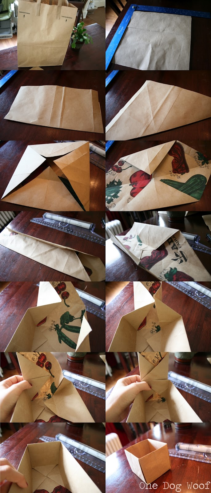 Fold an origami box out of a paper bag