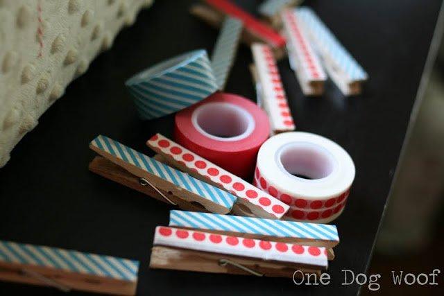 Washi Tape Clothespins | One Dog Woof | #washitape