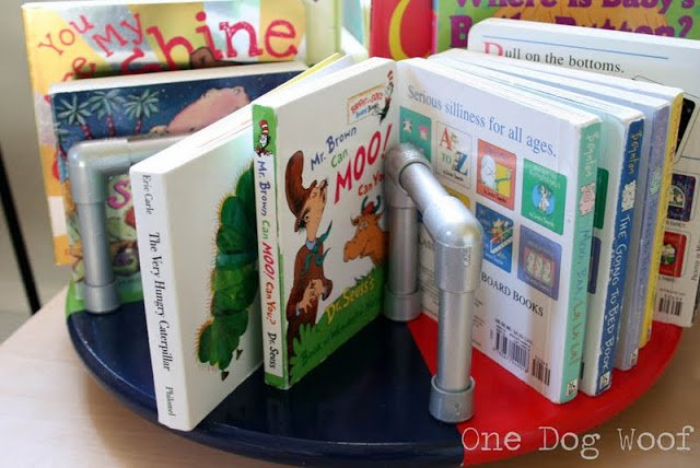 One Dog Woof: Merry Go Round Bookshelf using pvc pipes