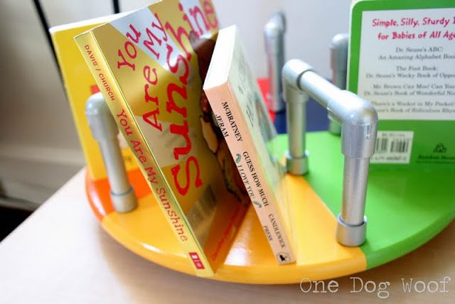 One Dog Woof: Merry Go Round Bookshelf using a lazy susan and pvc pipes