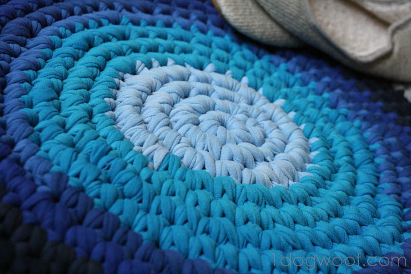 Crochet Rug From Repurposed T shirts One Dog Woof
