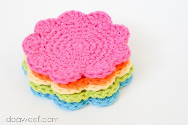 Flower Coasters Pattern One Dog Woof