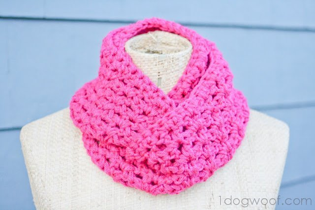 Double Crochet Infinity Scarf Free Pattern : End of Winter Double Strand Infinity Scarf - One Dog Woof