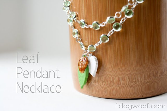 Leaf Necklace   One Dog Woof   #jewelry #polymerclay