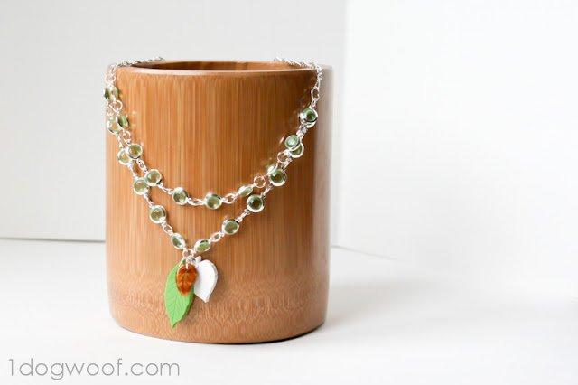 Leaf Necklace | One Dog Woof | #jewelry #polymerclay
