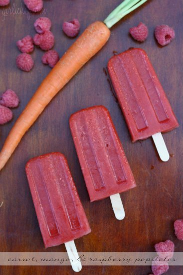 Carrot, Mango, and Raspberry Popsicles 3