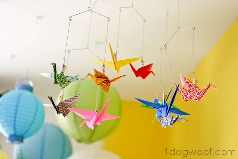 One Dog Woof: Origami Crane Mobile