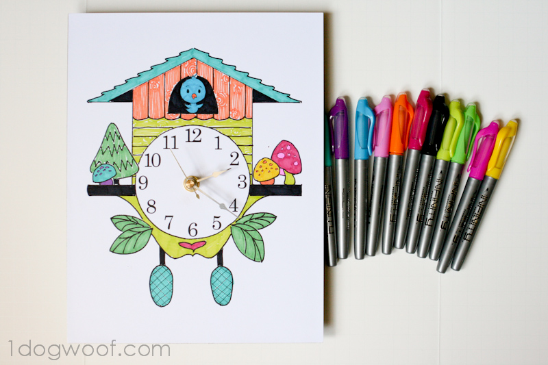 Simple kids room ideas - Color And Create Your Own Cuckoo Clock One Dog Woof