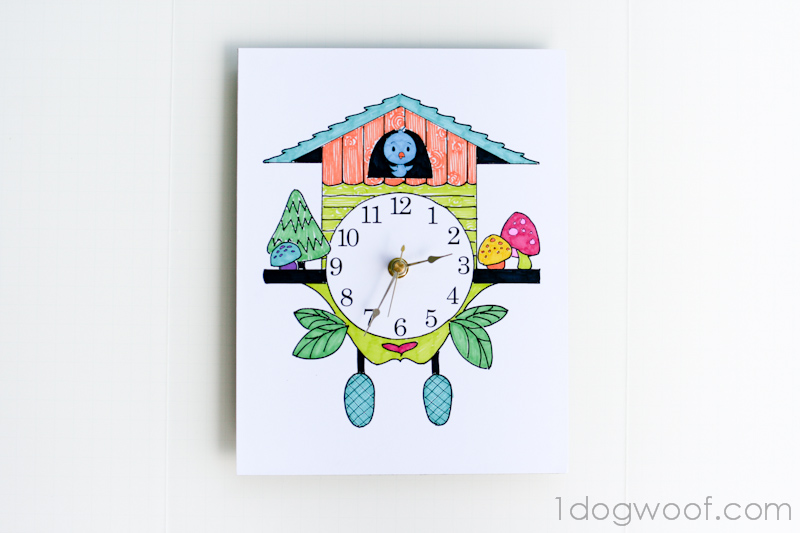 Color and create your own cuckoo clock one dog woof How to make a cuckoo clock