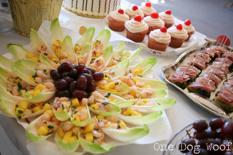 Birthday Party Snacks Mango Shrimp Salad on Endive Leaves One Dog