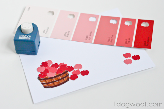 One Dog Woof: An Apple Punch and Paint Chips to create greeting cards