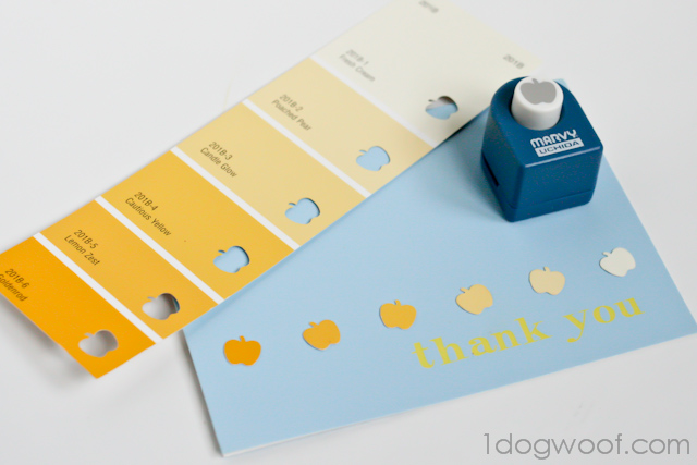 One Dog Woof: Embellish a thank you card with paint chips and an apple punch
