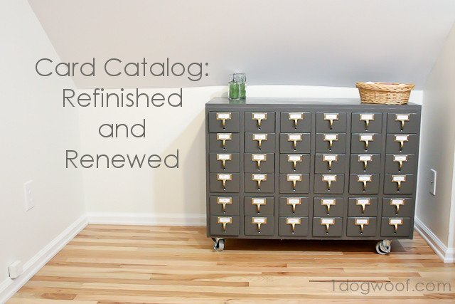 One Dog Woof: Repurposed and Refinished Card Catalog Craft Storage