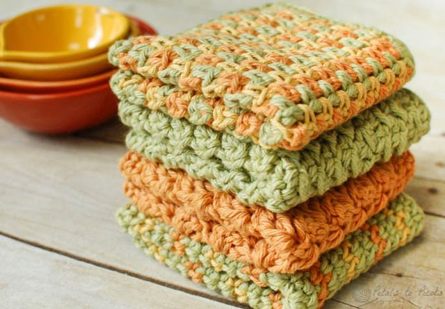 Crochet Patterns Dishcloths Free : One Dog Woof: Crochet Dishcloths, Free Patterns from Petals to Picots