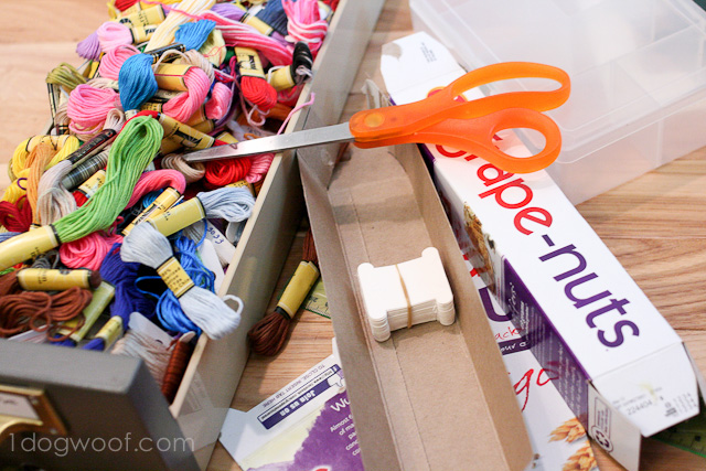One Dog Woof: Use cereal boxes for embroidery thread storage
