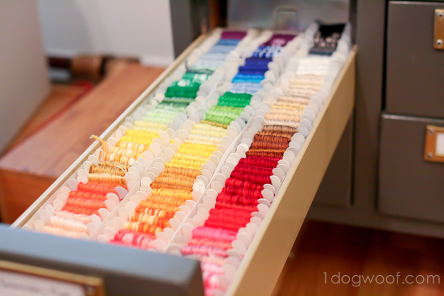 One Dog Woof: Embroidery Thread Storage and Organization, in a card catalog!