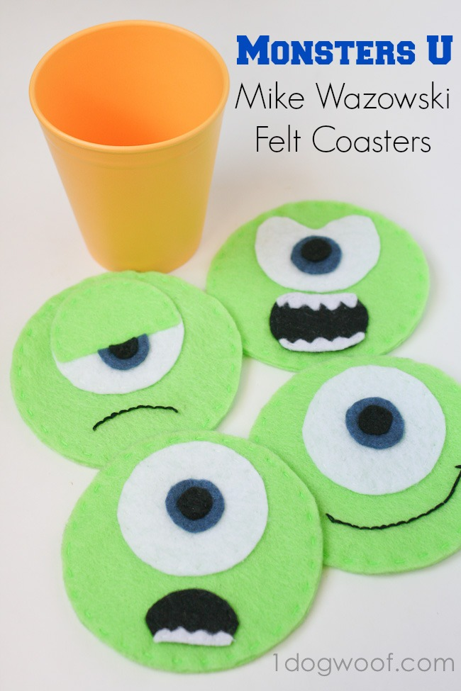 Monsters University Mike Wazowski Felt Coasters | One Dog Woof | #disney #MonstersU