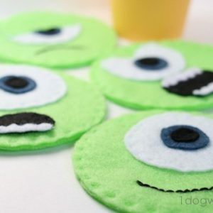 Mike Wazowski Felt Coasters | One Dog Woof | #disney #MonstersU