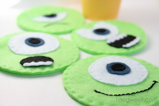 Mike Wazowski Felt Coasters | One Dog Woof | #disney #MonstersU