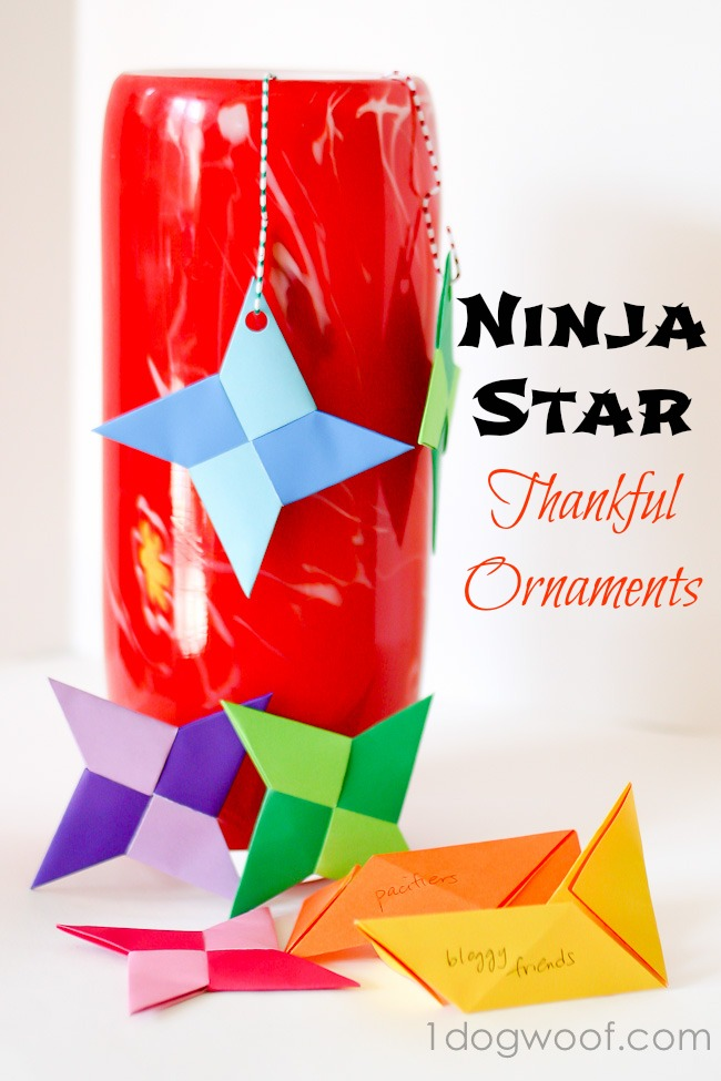 Ninja Star Thankful Ornaments | One Dog Woof | #origami #Thanksgiving #Christmas #ornaments