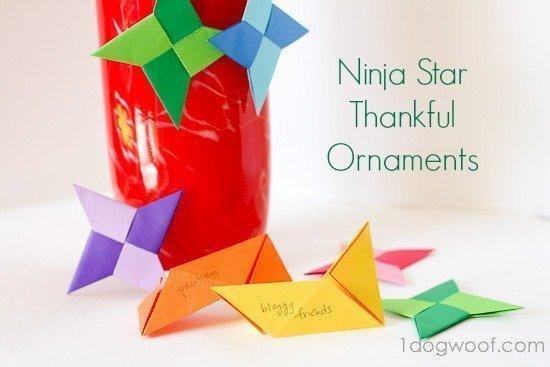 Origami Ninja Star Thankful Ornaments