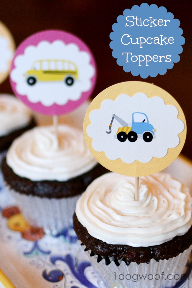 Sticker Cupcake Toppers | One Dog Woof | #cupcake #sticker #party
