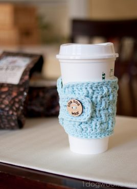 Basketweave Cup Cozy Crochet Pattern with #MyFavoriteBloggers