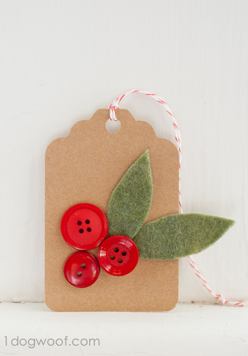 Christmas Gift Tags Handmade.Homemade Christmas Gift Tags Day 4 Holly Sprigs One Dog Woof