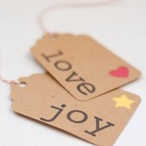Stamped Word Gift Tags. www.1dogwoof.com