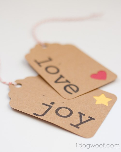 Stamped Words Gift Tags. www.1dogwoof.com