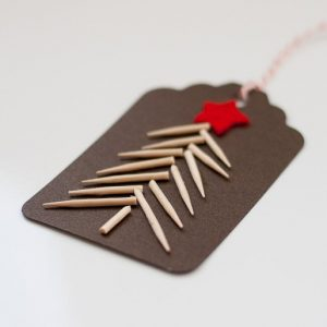 Toothpick Christmas Tree Homemade Gift Tag
