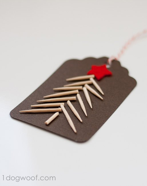 Use toothpicks to create a Christmas tree gift tag.  Instructions at www.1dogwoof.com