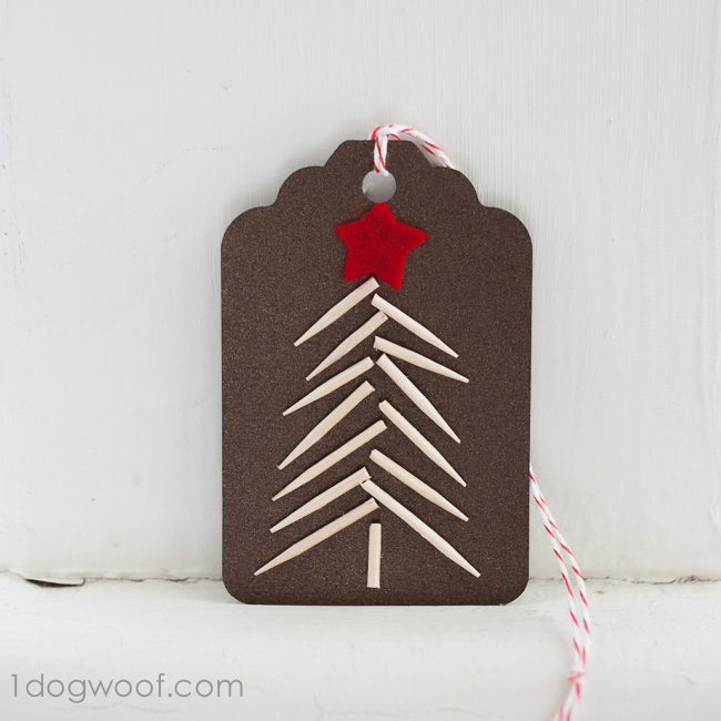 Use cut up toothpick segments to create a Christmas Tree: Homemade Christmas Gift Tags. Instructions at www.1dogwoof.com