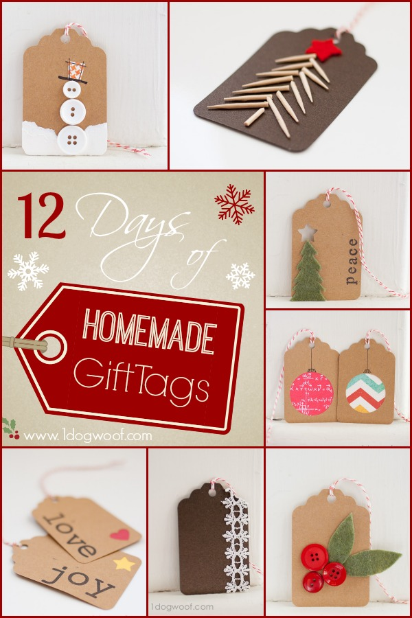 12 Days of Homemade Christmas Gift Tags @ www.1dogwoof.com