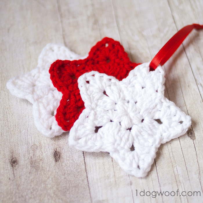 Free Crochet Pattern Christmas Star : Crochet Star Ornament Pattern - One Dog Woof