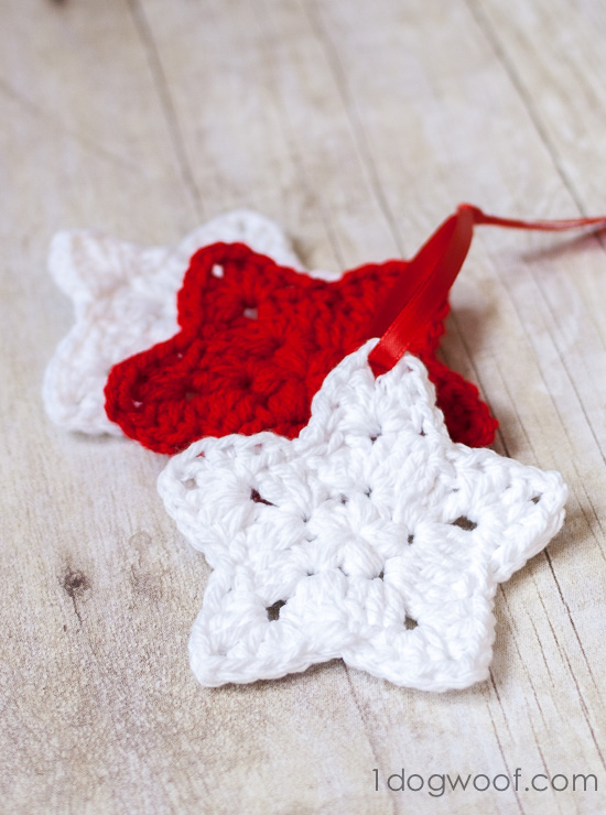 Crochet Star Ornament Pattern One Dog Woof